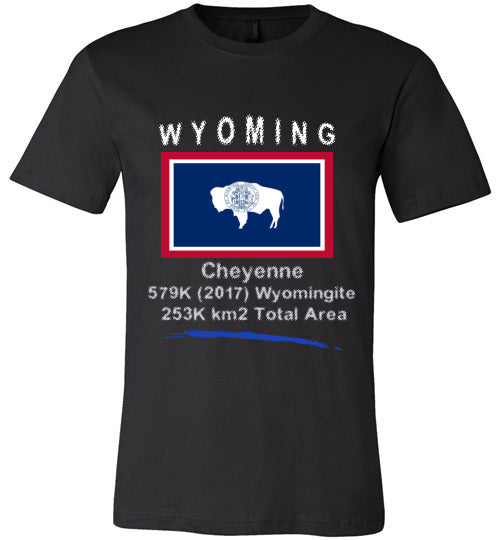 Wyoming State Shirt - Flag, Capital, Population, Resident's Name, Total Area - Unisex - Black
