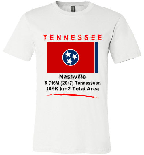 Tennessee State Shirt - Flag, Capital, Population, Resident's Name, Total Area - Unisex - White