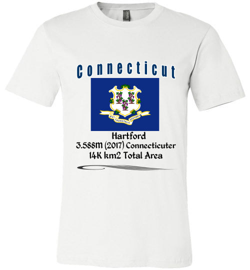 Connecticut State Shirt - Flag, Capital, Population, Resident's Name, Total Area - Unisex - White