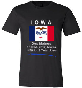 Iowa State Shirt - Flag, Capital, Population, Resident's Name, Total Area - Unisex - Black