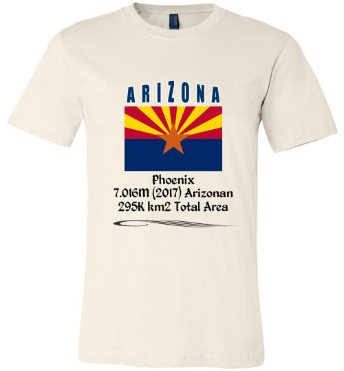 Arizona State Shirt - Flag, Capital, Population, Resident's Name, Total Area - Unisex - Soft Cream