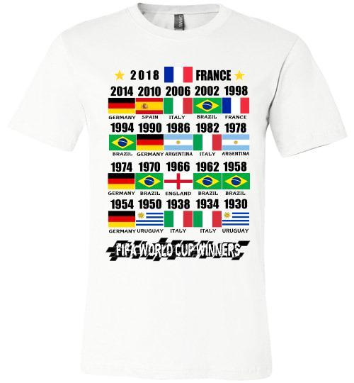 Canvas Unisex T-Shirt | FIFA World Cup Winners with Flags (1930 - 2018) - White