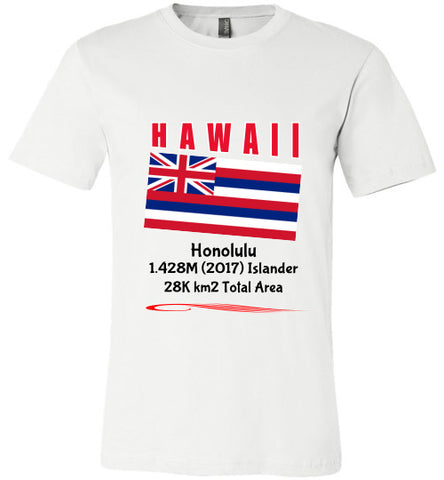 Hawaii State Shirt - Flag, Capital, Population, Resident's Name, Total Area - Unisex - White