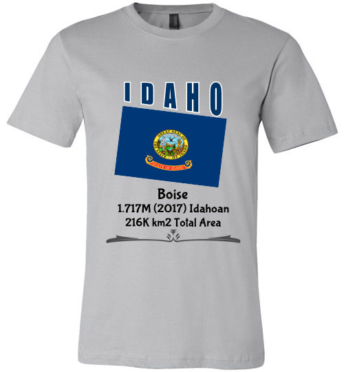 Idaho State Shirt - Flag, Capital, Population, Resident's Name, Total Area - Unisex - Silver