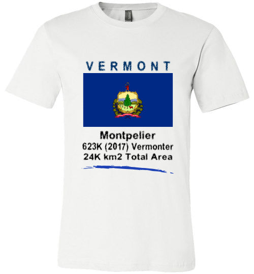 Vermont State Shirt - Flag, Capital, Population, Resident's Name, Total Area - Unisex - White