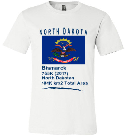 North Dakota State Shirt - Flag, Capital, Population, Resident's Name, Total Area - Unisex - White