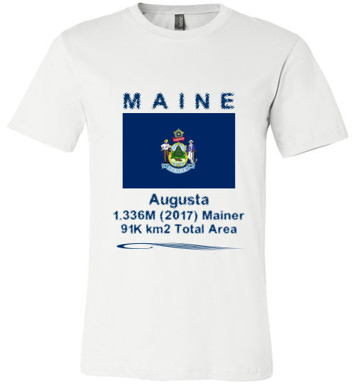 Maine State Shirt - Flag, Capital, Population, Resident's Name, Total Area - Unisex - White