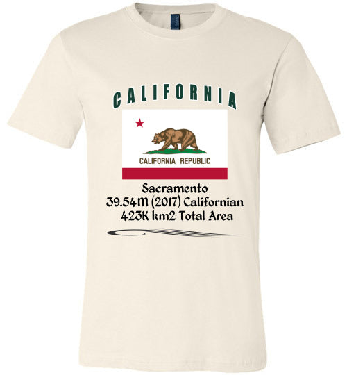 California State Shirt - Flag, Capital, Population, Resident's Name, Total Area - Unisex - Soft Cream