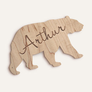 Custom Bear Etched Name Plaque