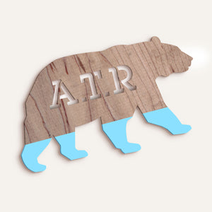 Custom Stencilled Bear Plaque - Dipped