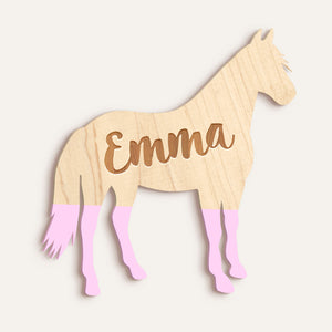 Custom Horse Etched Name Plaque - Dipped