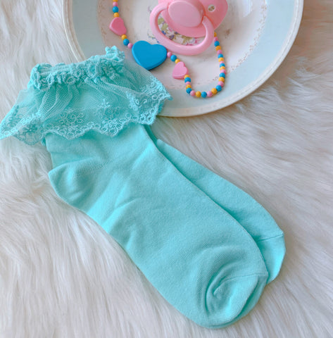 Teal Ruffle Socks