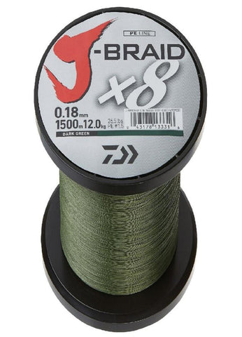 Daiwa J-Braid X4 300 Yard Spool 6LB Test - Dark Green