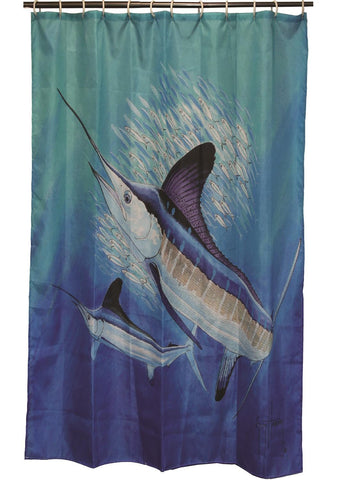 Rivers Edge Guy Harvey Marlin Shower Curtain-70in X 72in