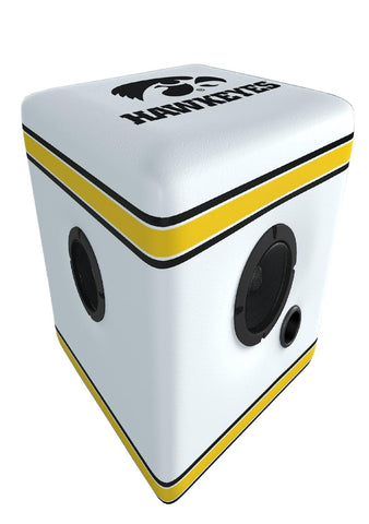 Rainmaker Iowa Hawkeyes Bluetooth Speaker Ottoman-White-Blk