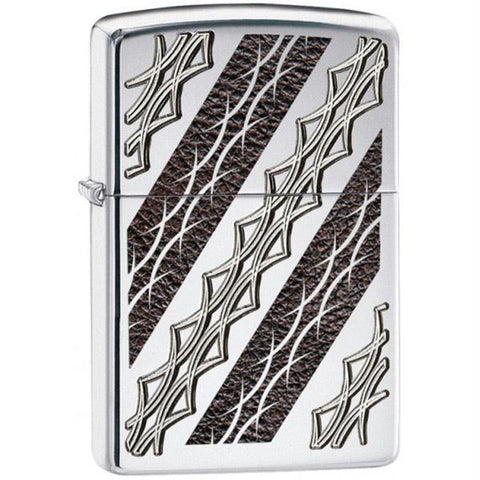 Zippo Armor High Polish Chrome Deep Carved Tribal Lighter