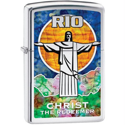 Zippo High Polish Chrome Fusion Christ the Redeemer Lighter