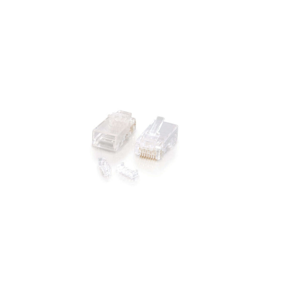 RJ45 Cat5e Plug for Solid 6 Micron 2 Prong 100pk