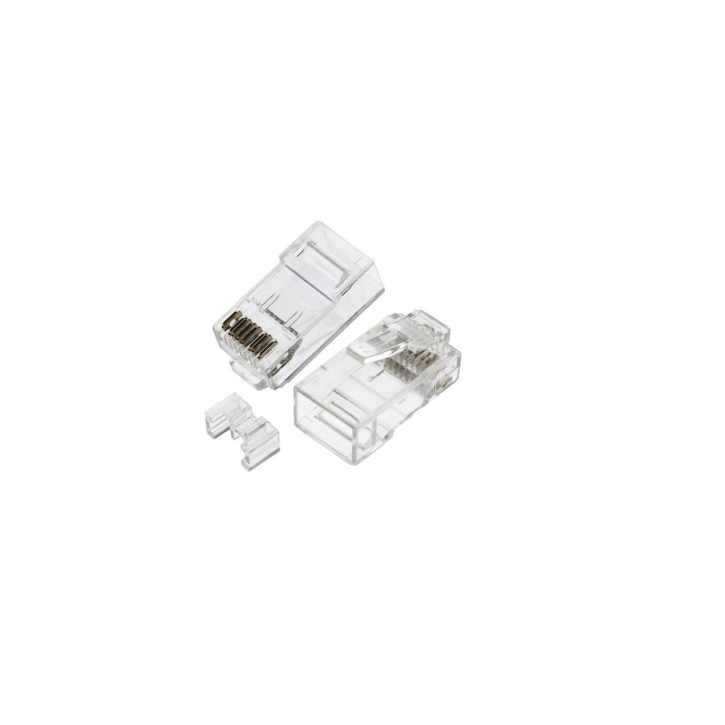 RJ45 Cat6A Plug for Solid 50 Micron 3pc type 100pk