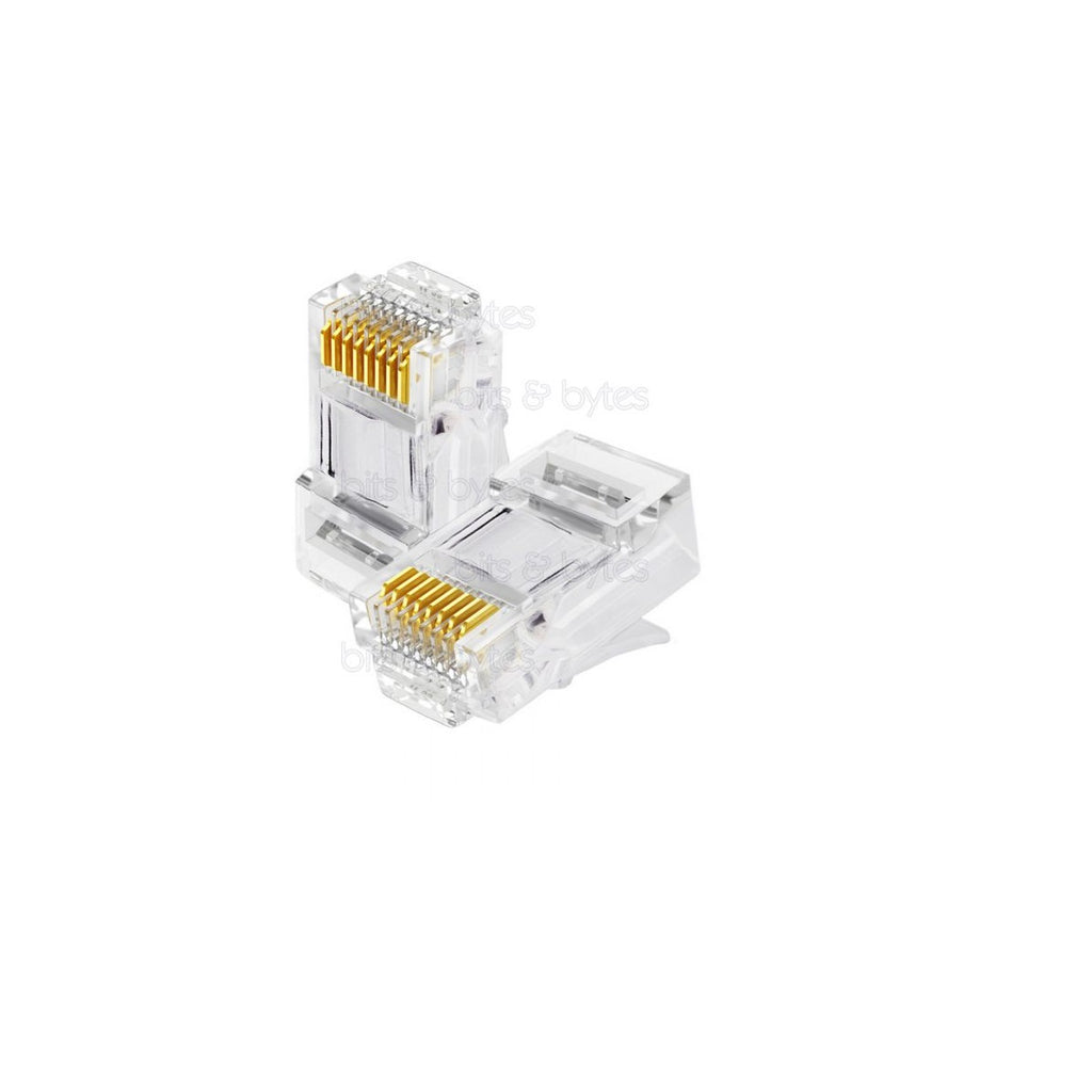 Transparent Cat5e Unshielded Modular Plug 8P8C 3 prong 50u""