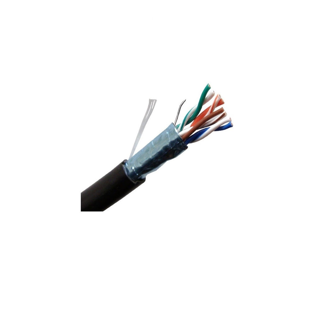 Cat5e STP 26AWG CM Stranded Bulk Cable, 1000ft, Black