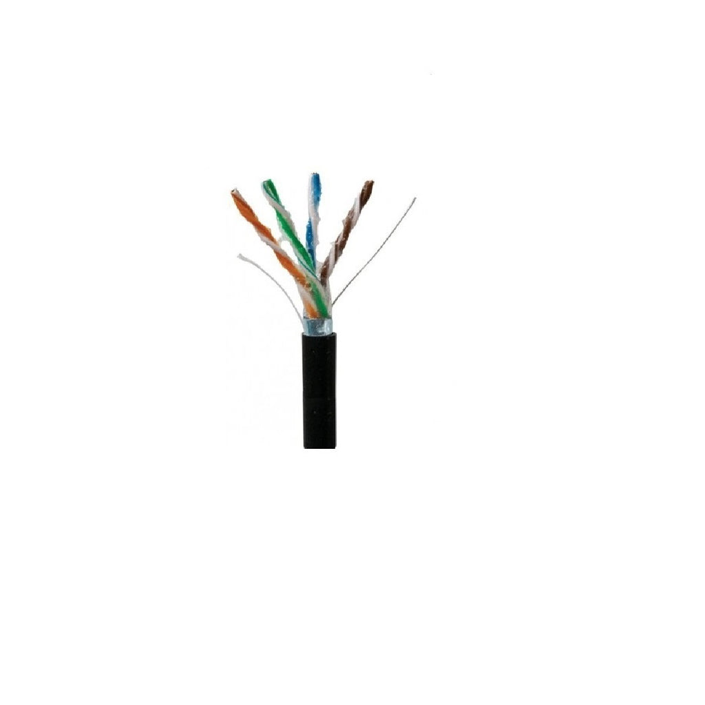 Cat5e STP Outdoor Gel-Filled Direct Burial Cable, 1000ft, Black