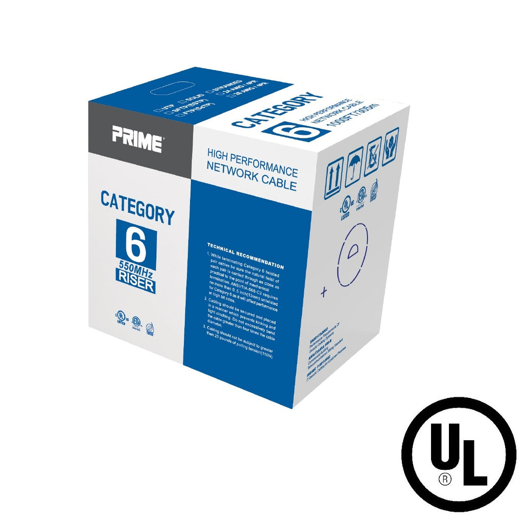 Cat.6 UTP 23AWG Solid CMR Bulk Cable, 1000ft, White (UL)
