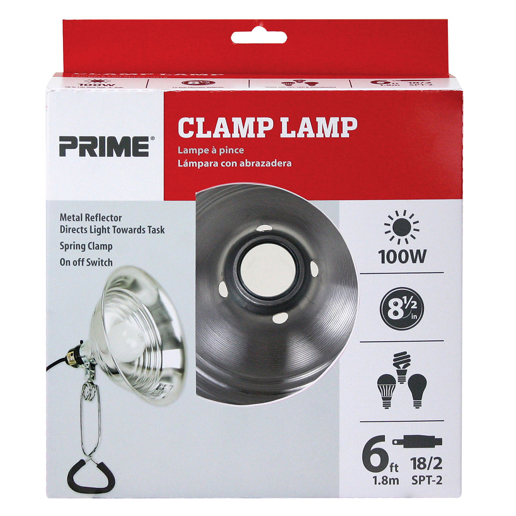 100 Watt Clamp Lamp w/6ft Power Cord