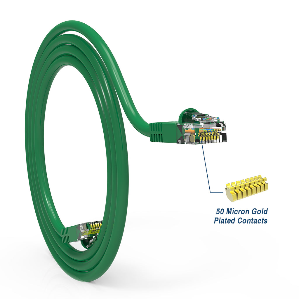 Cat5e Booted Patch Cord, 15ft, Green