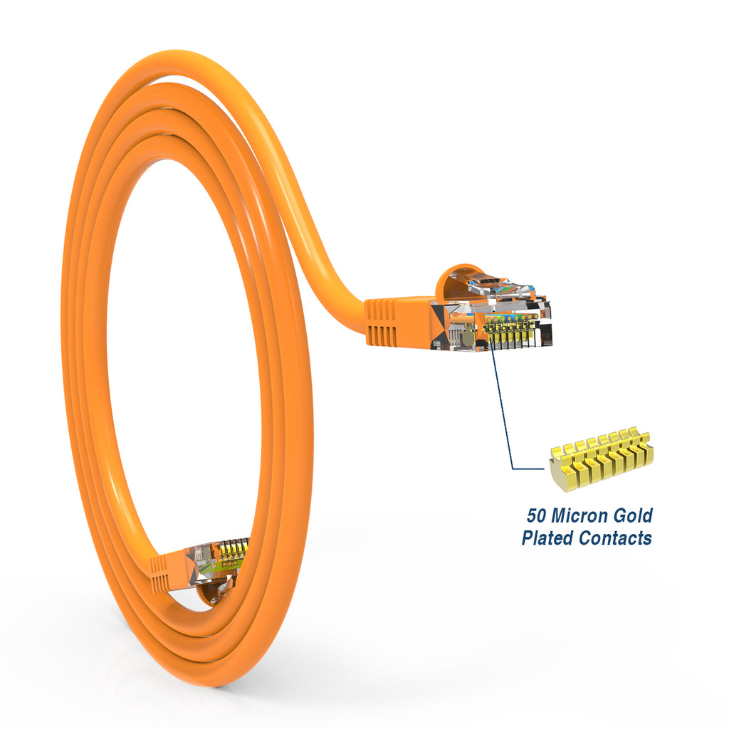 Cat5e Booted Patch Cord, 15ft, Orange