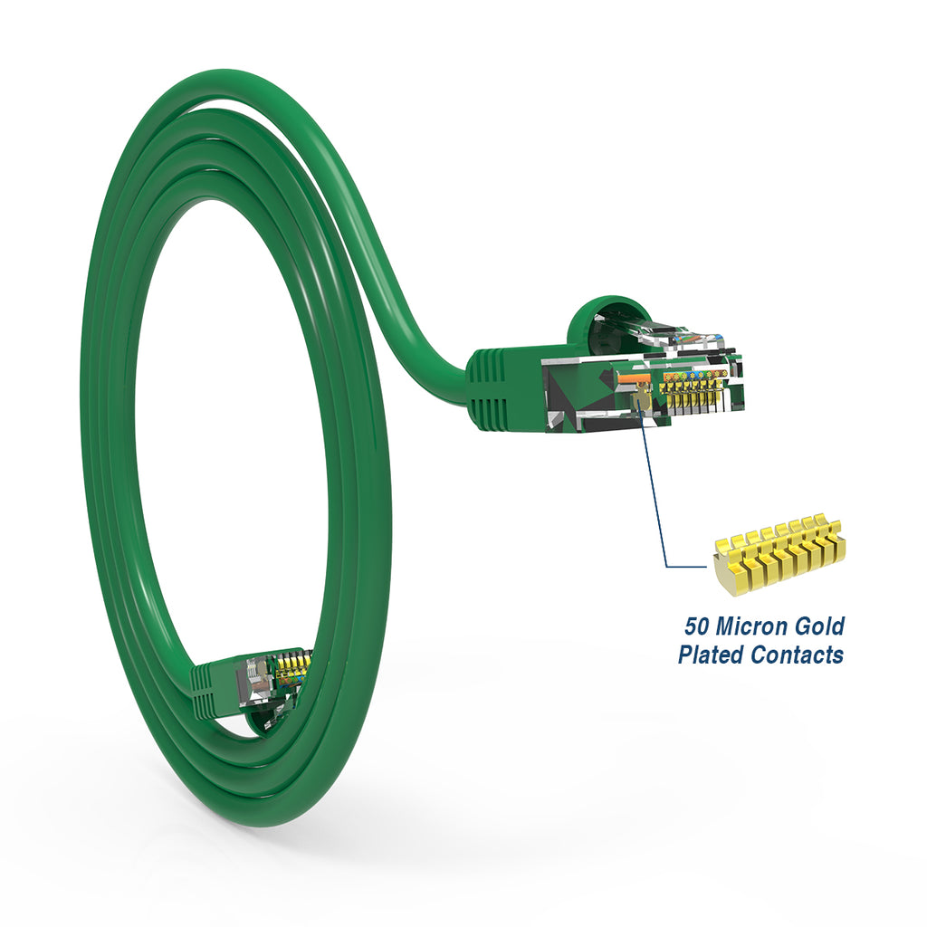 Cat.6A Booted Patch Cord, 15ft, Green