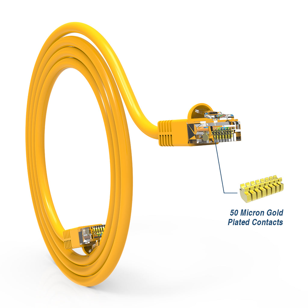 Cat.6 Booted Patch Cord, 15ft, Yellow