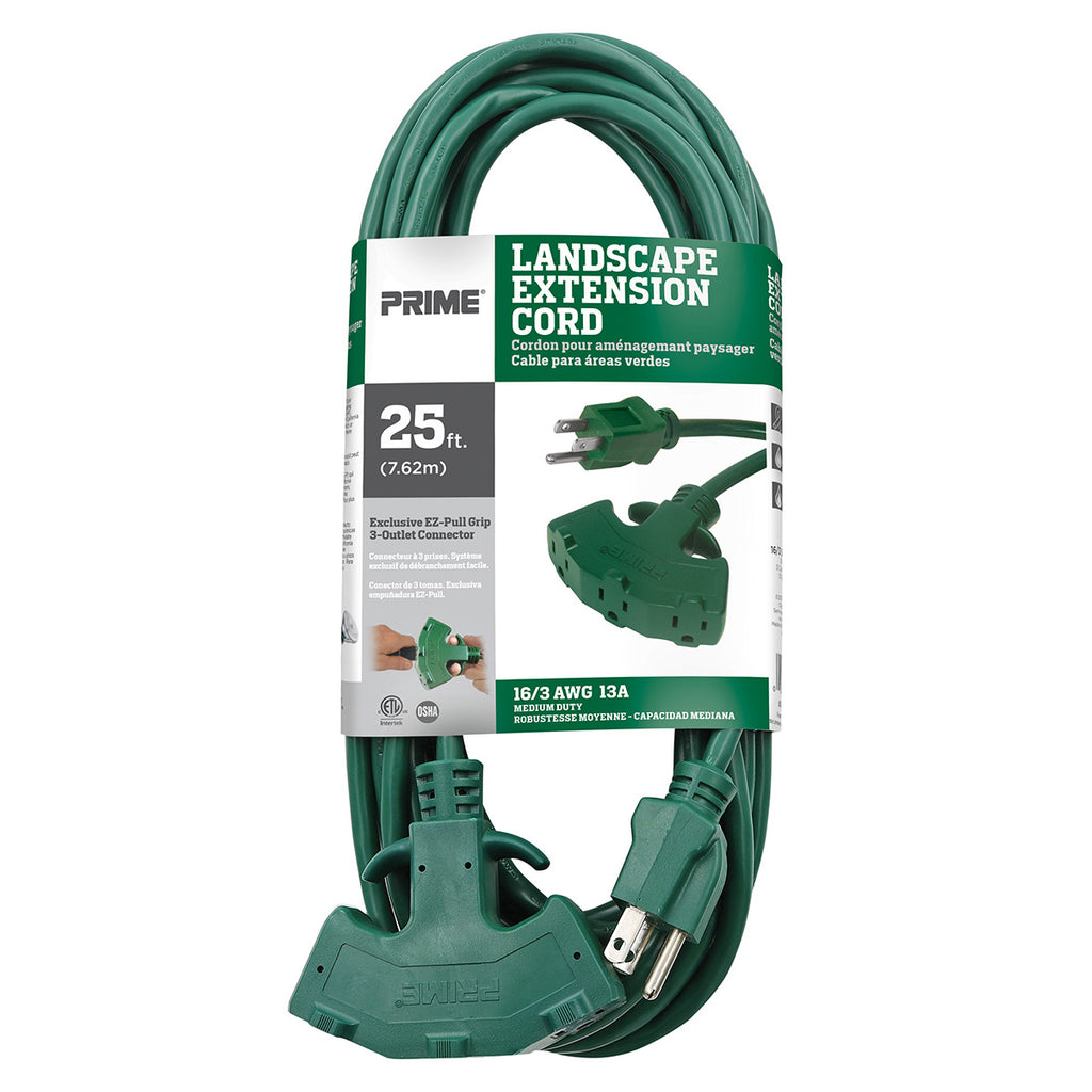 25ft 16/3 SJTW EZ-Pull Grip <br />3-Outlet Extension Cord