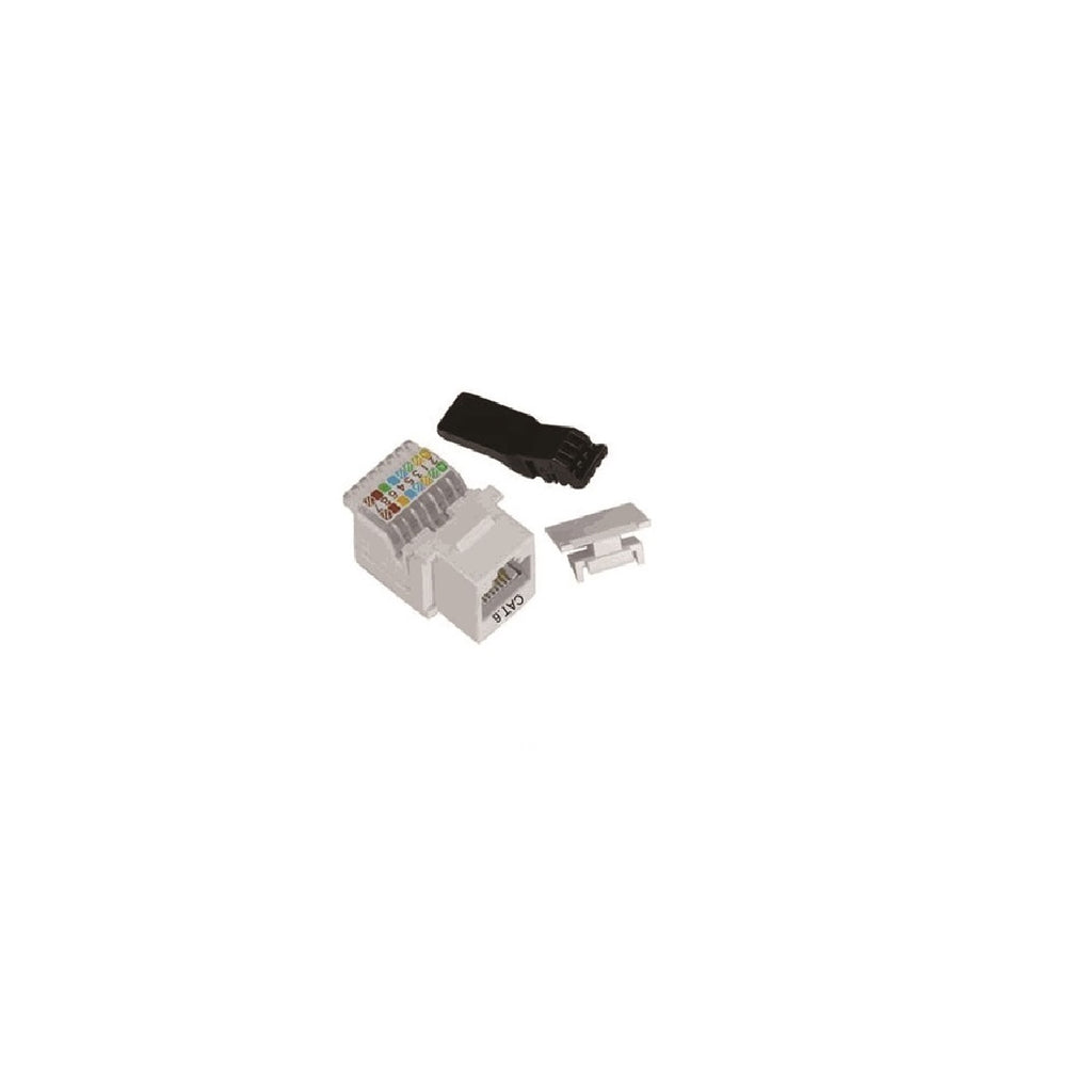 Cat6 90° Unshielded Tooless Keystone Jack 110 Type IDC, White