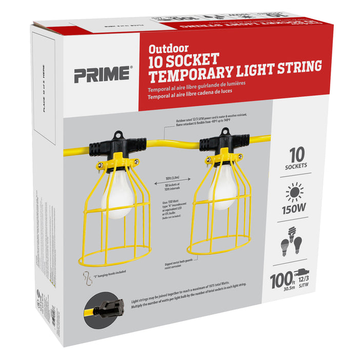 100ft 12/3 SJTW 10-Bulb <br />Light String w/Metal Cages