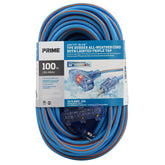 100ft 12/3 SJEOW <br />Arctic Blue™ All-Weather <br />3-Outlet Extension Cord