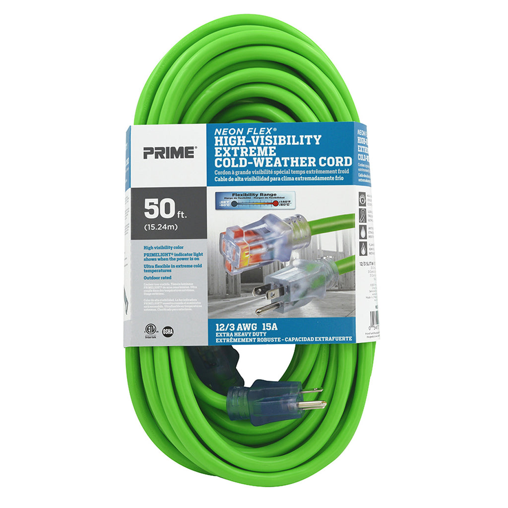 50ft 12/3 SJTW -50&deg;C <br />Neon Flex® High Visibility <br />Outdoor Extension Cord