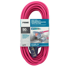 50ft 12/3 SJTW -50°C <br />Neon Flex® Hi-Visibility <br />3-Outlet Extension Cord