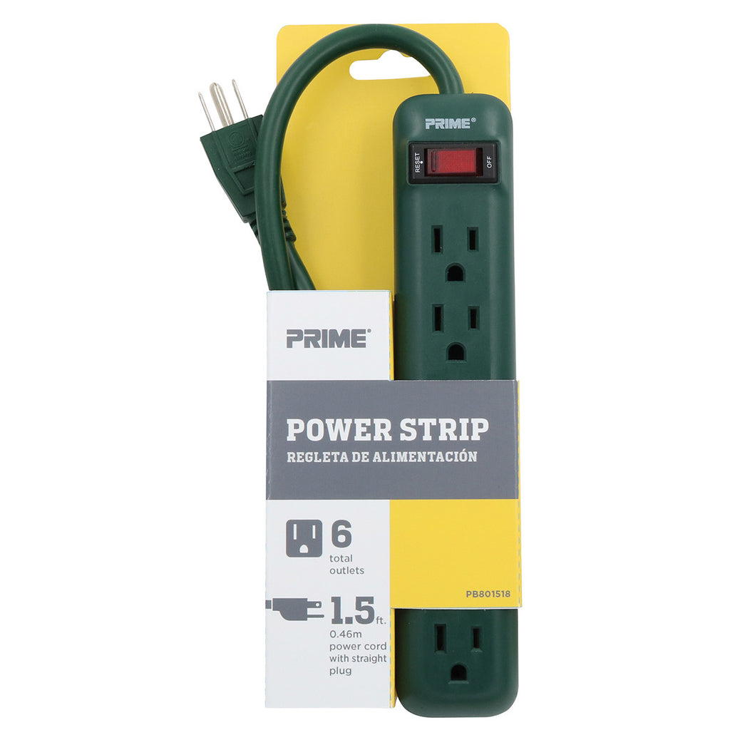 6-Outlet Power Strip <br />w/1.5ft Power Cord