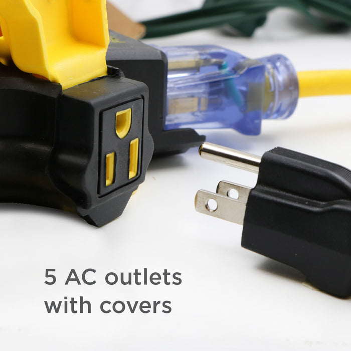 5-Outlet Power Hub <br />w/2-Port 3.4AMP USB Charger