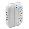 3-Swiveling Outlets <br />1200 Joule Surge Tap <br />w/4-Port 4.2A USB Charger