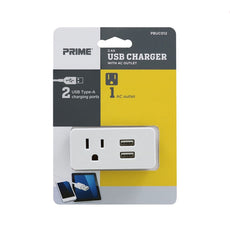 1-Outlet 2-Port Type-A<br />2.1A USB Charger