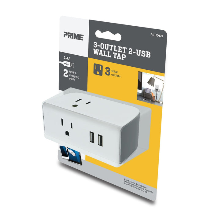 3-Outlet 2-Port Type USB-A<br />2.4A USB Charger