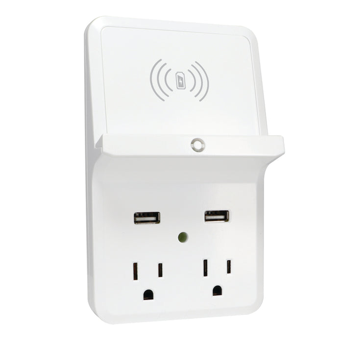 Wireless Charging Dock, 2-Outlet<Br /> w/2-Port 2.4A USB Charger