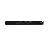 Cat6 180° Unshielded Patch Panel, 110 Type IDC, 12 ports, Black