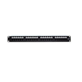 Cat6 180° Unshielded Patch Panel, 110 Type IDC, 24 ports, Black