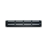 Cat6 180° Unshielded Patch Panel, 110 Type IDC, 48 ports, Black