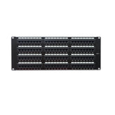 Cat6 180° Unshielded Patch Panel, 110 Type IDC, 96 ports, Black