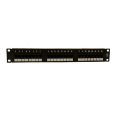 Cat6A 180° Unshielded Patch Panel, 110 Type IDC, 24 ports, Black