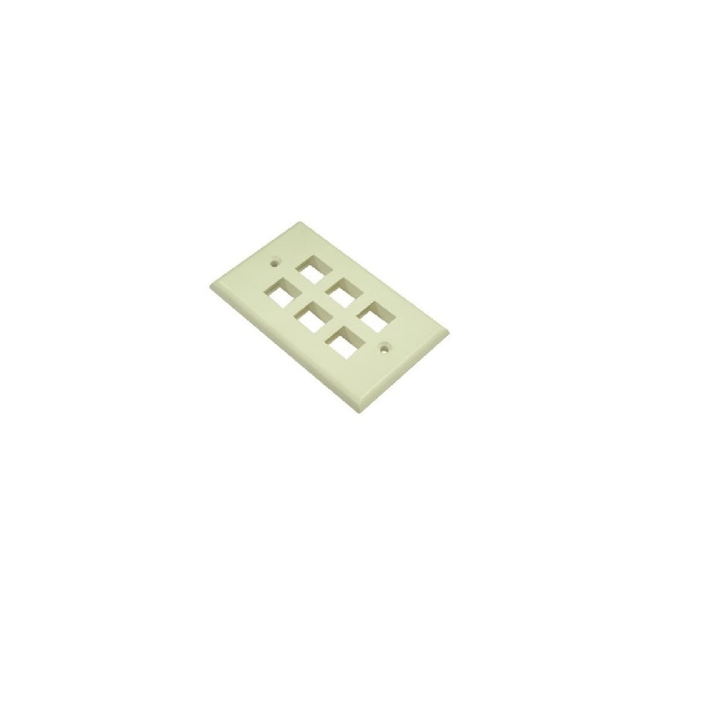 Wallplate 6 port Ivory